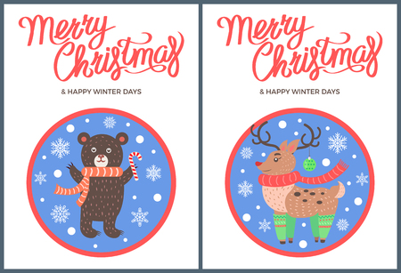 Merry Christmas and Happy winter days animal set deer with luxury horns, bear in scarf images with snowflakes vector illustrations in circles snowballs