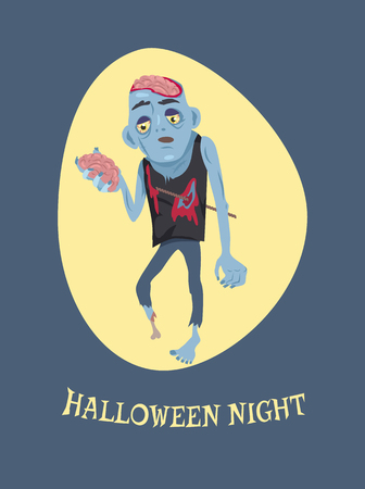 Halloween night image with sample headline placed below icon of sad zombie holding brain and walking forward vector illustration isolated on blue