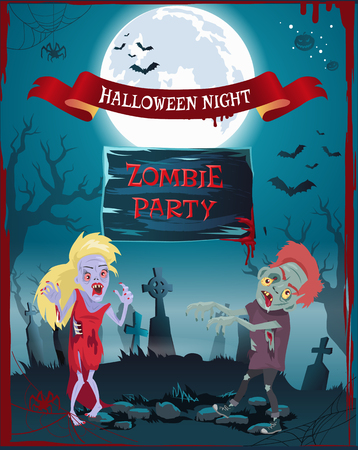 Halloween night, zombie party poster representing undead people, full moon and graveyard, spiders and cobwebs, blood and bats vector illustration Illustration