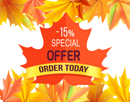 Special offer - 15 order today promo advertisement on red maple leaf on background of foliage frame isolated on white vector illustration poster