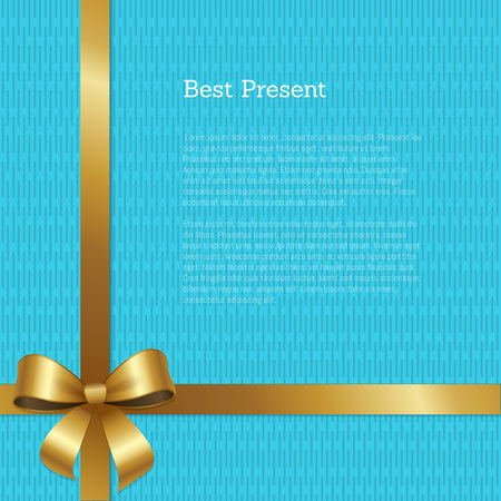 Best present certificate or greeting card design with crossed ribbons with golden bow in left corner of vector with text isolated on abstract blue Illustration