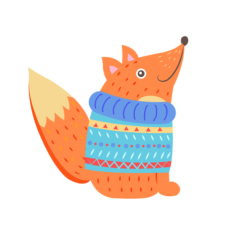 Smiling fox in sweater icon isolated on white background. Vector illustration with little happy fox sitting in blue knitted warm clothes