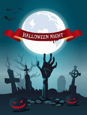 Halloween night scary poster with bats flying over foggy graveyard. Vector illustration with zombie surrounded by glowing pumpkins 版權商用圖片 - 90768961