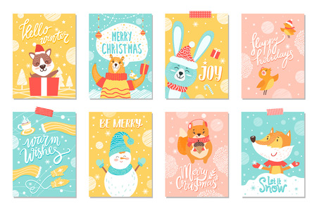 Merry Christmas set of winter holidays posters with funny animals with warm wishes and congratulations. Vector illustration with bears and foxes in sweaters