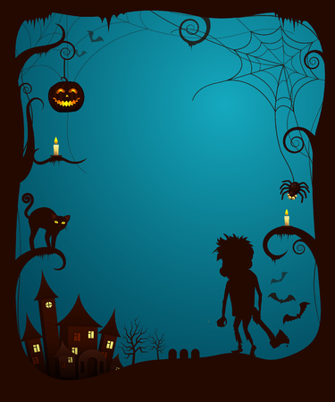 Halloween theme scary poster with cat scared by monster with ax surrounded by glowing pumpkins. Vector illustration with spooky castle on background