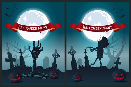 Halloween Night Poster Vector Illustration