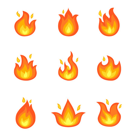 Burning Fire Set of Icons Vector Illustration Çizim