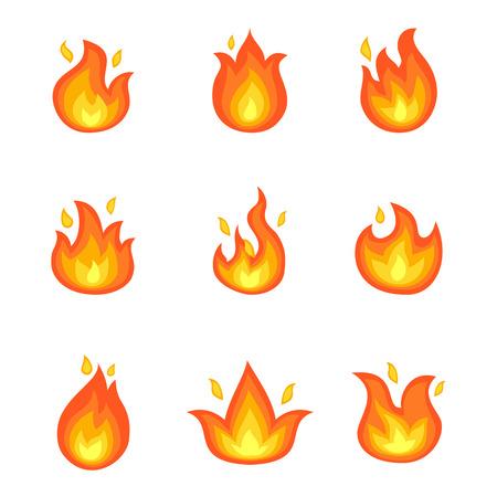 Płonący ogień Ustawiający ikona wektoru ilustracja
