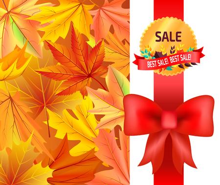 Best Sale Gold Logo Emblem with Leaves Red Ribbon Illustration