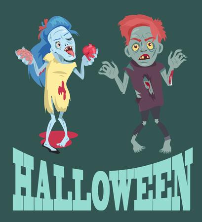 Halloween en zombies afbeeldingen vectorillustratie