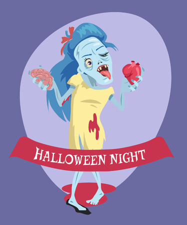 Halloween Night Lady Zombie Vector Illustration Banque d'images - 90787029