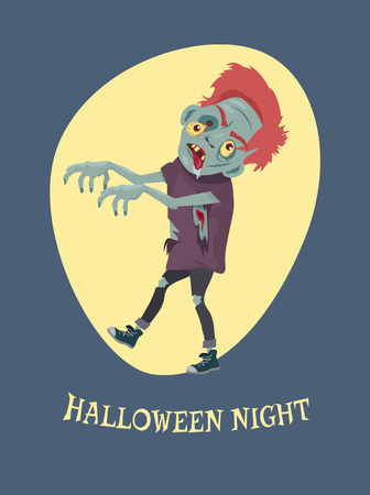Halloween-nacht griezelige zombie vectorillustratie