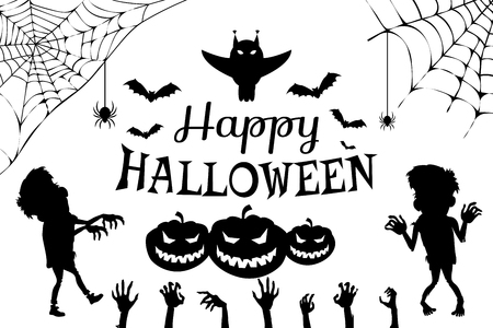 Happy Halloween with Title on Vector Illustration Çizim