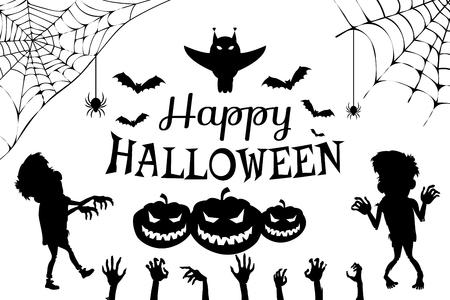 Happy Halloween with Title on Vector Illustration Illustration