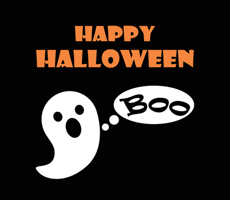 Happy Halloween Scary Ghost Vector Illustration Иллюстрация