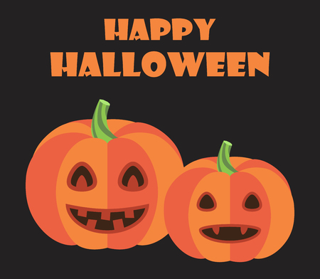 Happy Halloween Poster Pumpkins with Green Stems