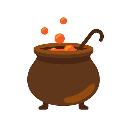Closeup of Witch Cauldron on Vector Illustration