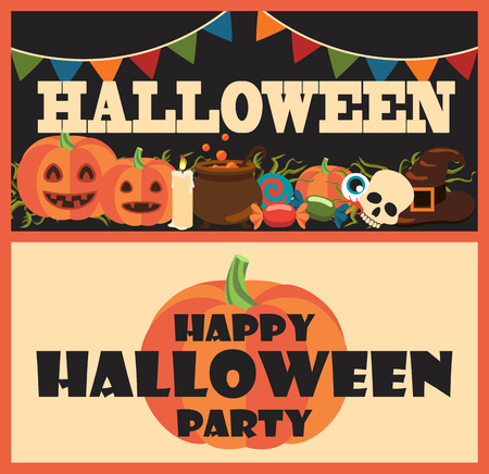 Happy halloween party collection of posters with items such as candies, candle and skull, pumpkins and pot, flags above vector illustration Stock Illustratie