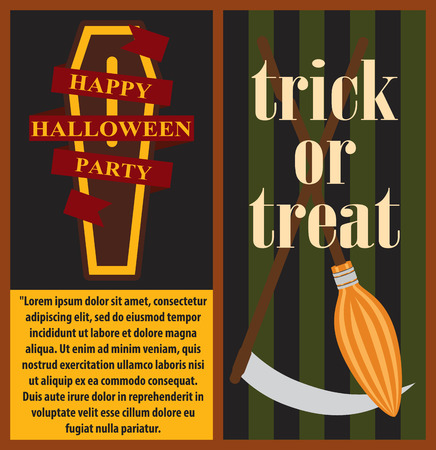 Happy Halloween party posters, banners with text and titles, with images of coffin and broom vector illustration isolated on dark background Illustration