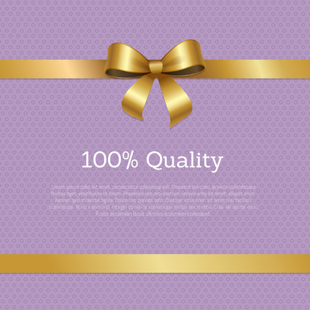 100 quality sale certificate card design with ribbon and gold bow knot vector illustration with text isolated on abstract purple with dots