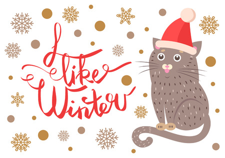 I like winter poster representing sitting cat, wearing red hat, title sample and snowflakes on vector illustration isolated on white