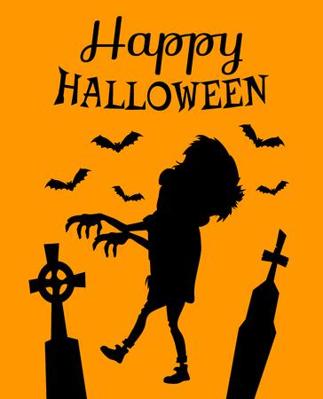 De gelukkige Halloween-affiche met zombiesilhouet, grafzerken die kruisen op hoogste en zwarte knuppels hebben isoleerde vectorillustratie op oranje achtergrond.