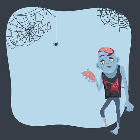 Halloween-affiche en zombie vectorillustratie Stock Illustratie