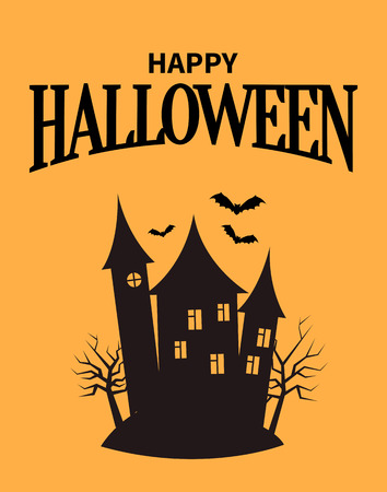 Happy Halloween poster with closeup of creepy house with windows and towers , building standing on hill and birds flying above it vector illustration