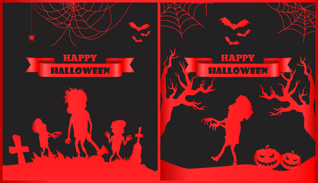 Happy Halloween spooky red posters with titles on ribbons, silhouettes of zombies and trees, spiders and cobwebs, bats and pumpkin vector illustration Illustration