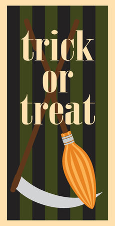 Trick or treat Halloween poster with headline and image of broom and scythe on wooden handles vector illustrations isolated on striped background