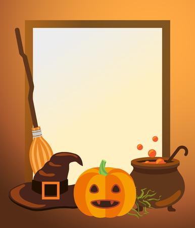Leeg de fotokader van Halloween met oude heksenhoed en bezemsteel, rijpe pompoen en vathoogtepunt van drankje met bellen vectorillustratie.