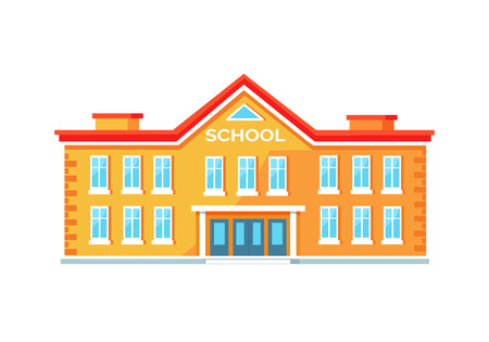 Colorful Brick School Building Vector Illustration Çizim