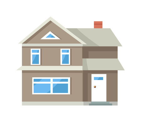 Icon of Three Storey House of Grey Color with Door 일러스트