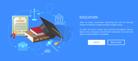 Education Web Banner with Lawyers Licence, Books