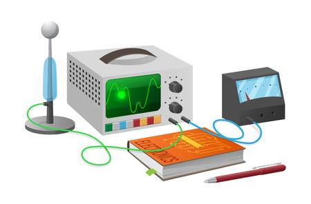 Electronics Studies with Equipment Illustration Illustration