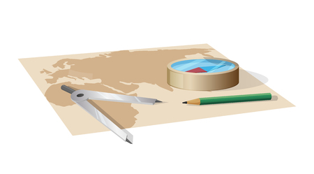 World Map and Equipment for Distance Measurement