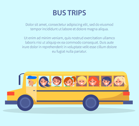 Bus Trips Vector Poster with Kids Yellow Transport