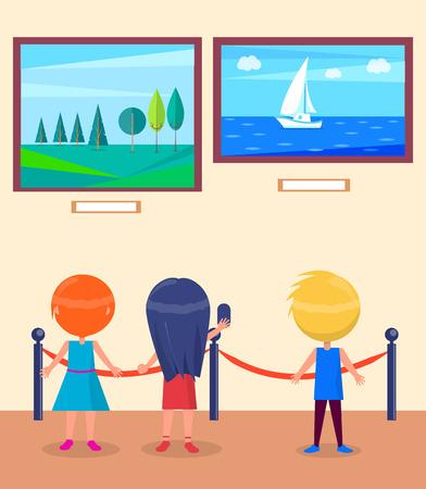 Art Gallery Excursion for School Children Vector