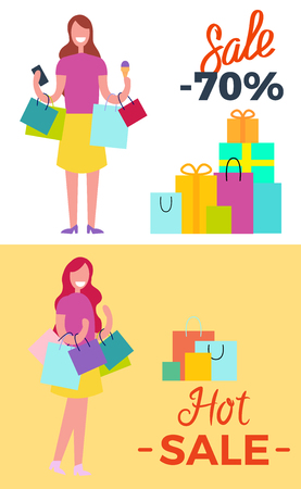 -70 Sale and Hot Sale Vector Illustration