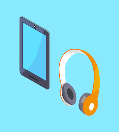 Wireless Headphones and Tablet Vector 3D Icons