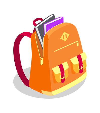 Backpack Full of Book Vector Illustration Isolated