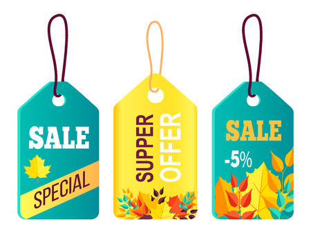 Hanging tags with fall backgrounds and sale concept Illustration