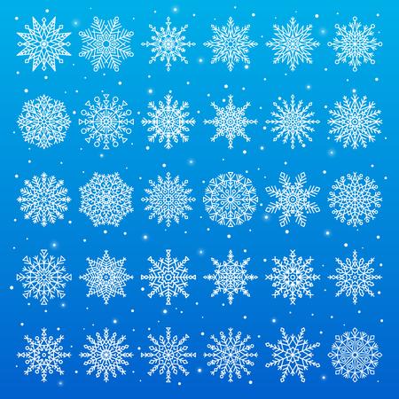 Set of Different Snowflakes illustration.