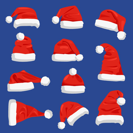 Set of Santa Claus Hats Vector Illustration.