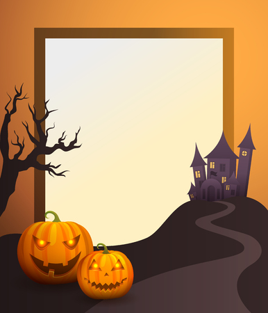 Halloween Photo Frame with Old Castle and Pumpkins.