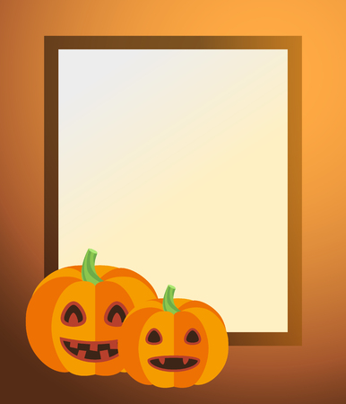 Photo Frame with Pumpkin Lanterns and Candles Illustration