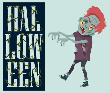 Halloween Night Spooky Zombie Vector Illustration.