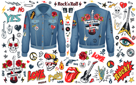 Rock and Roll Theme Icons Vector Illustration Set Çizim