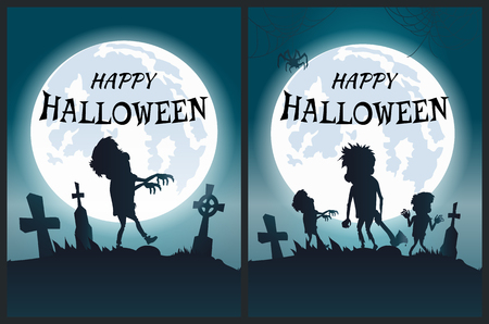 Happy Halloween Scary Posters Vector Illustration