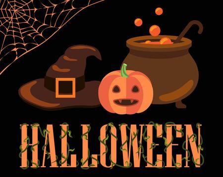 Halloween-affiche met pictogrammenillustratie.